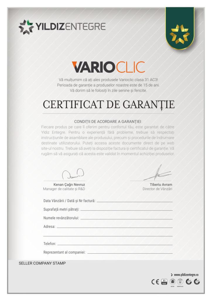 garantie parchet laminat Varioclic clasa 31 ac3